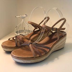 Clark's Artisan Wedge Jute Espadrille Sandals
